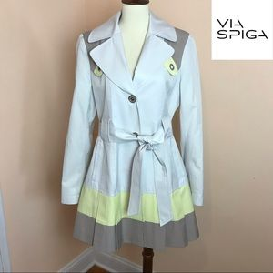 Stylish VIA SPIGA Lemon & Gray Trench Coat